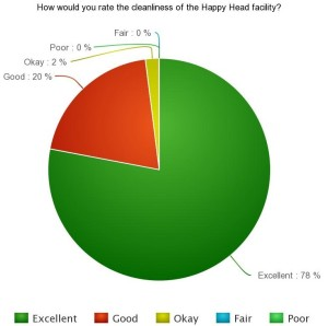 How would you rate the cleanliness of the Happy Head facility?