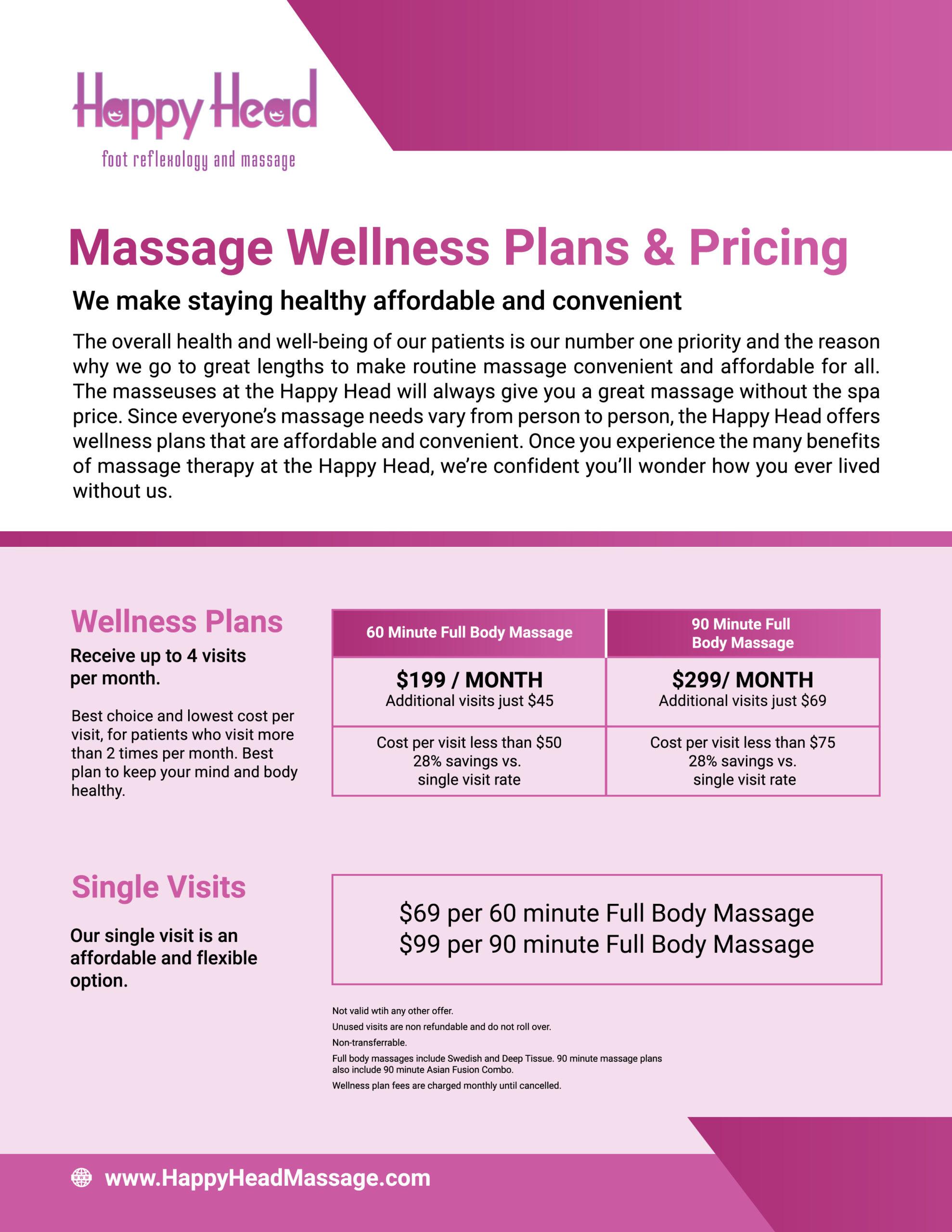 massage wellness plan flyer